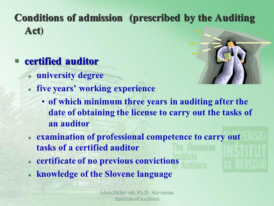 Meta Duhovnik, Ph.D., Slovenian Institute of Auditors