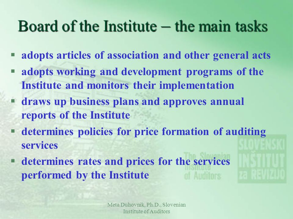 Board of the Institute – the main tasks