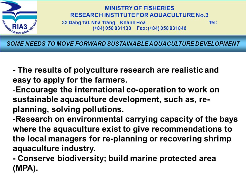 - Conserve biodiversity; build marine protected area (MPA).