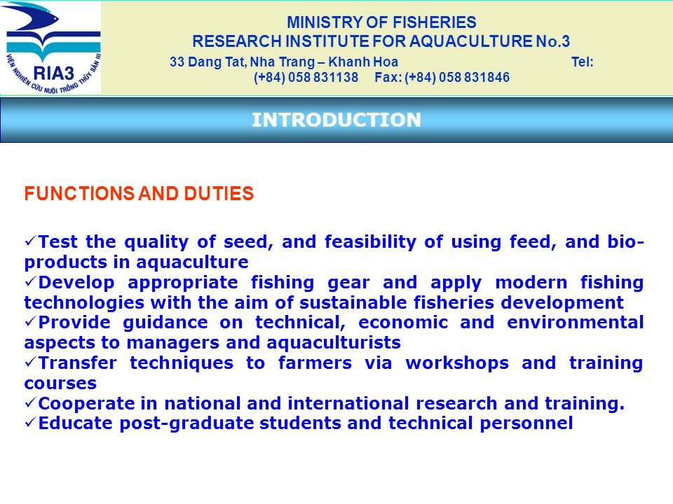 MINISTRY OF FISHERIES RESEARCH INSTITUTE FOR AQUACULTURE No.3