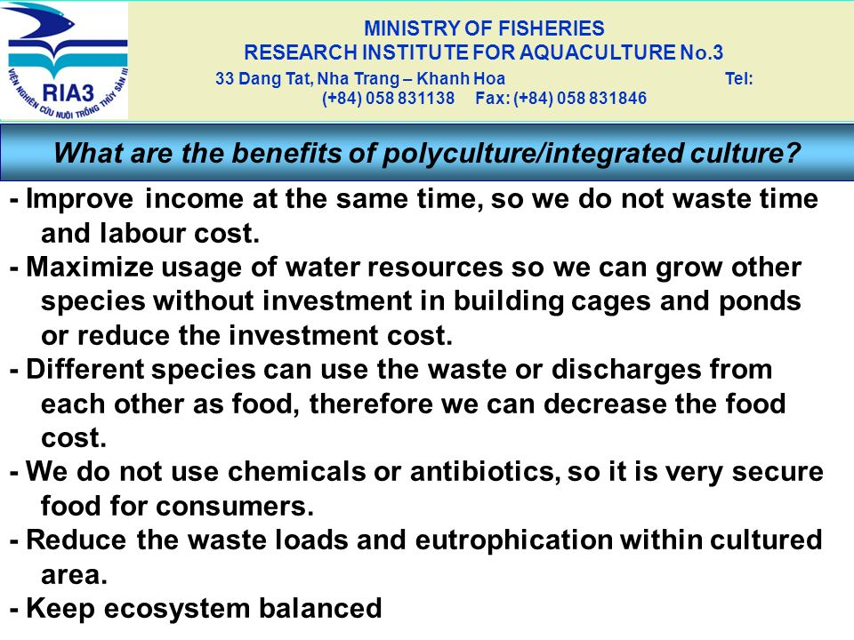 What are the benefits of polyculture/integrated culture