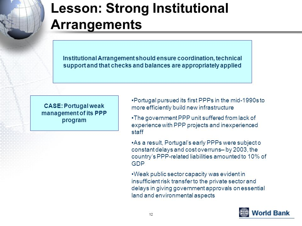 Lesson: Strong Institutional Arrangements