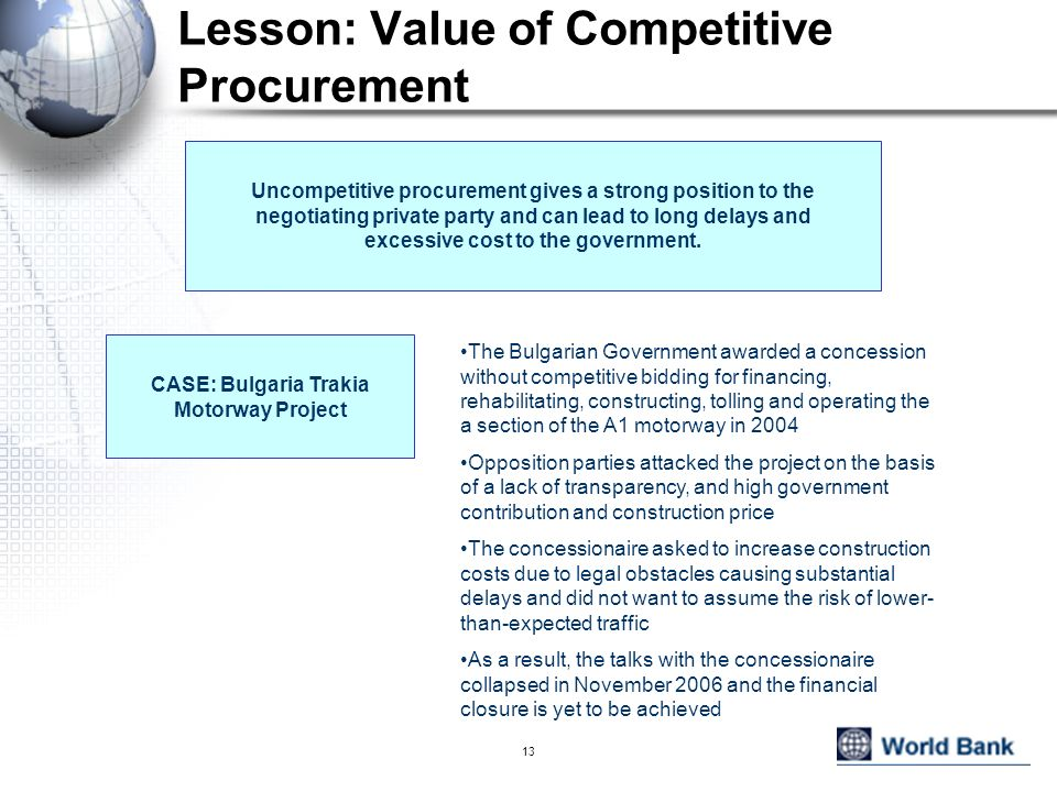 Lesson: Value of Competitive Procurement