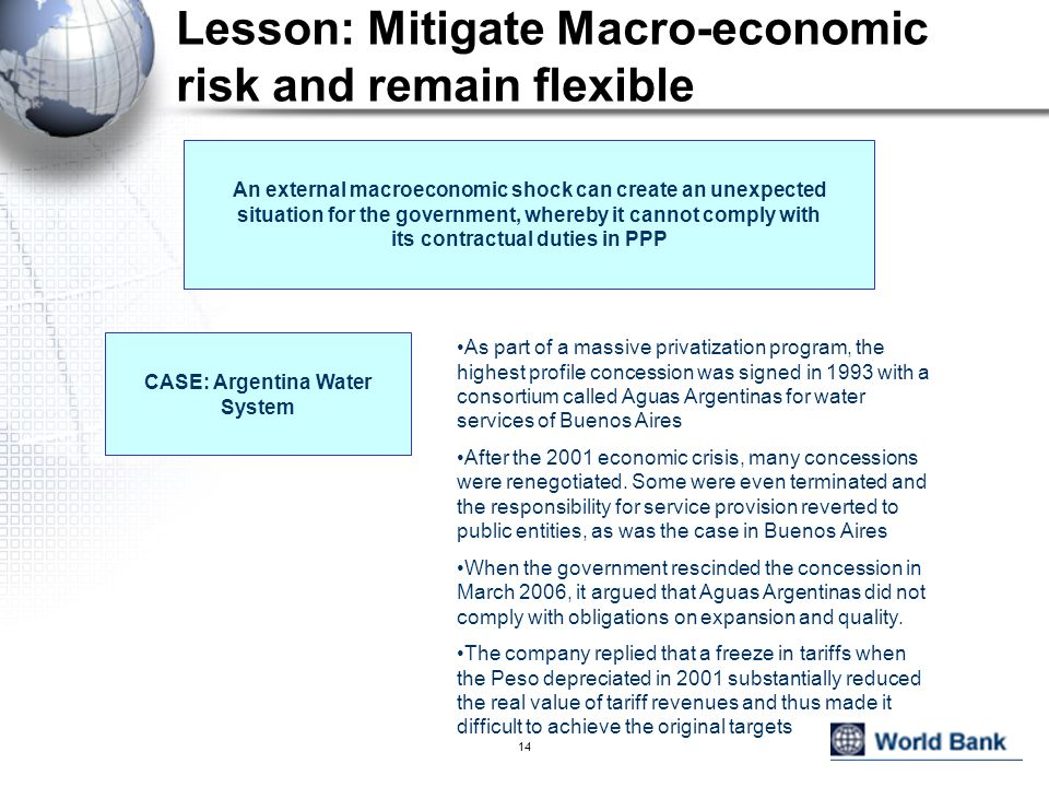 Lesson: Mitigate Macro-economic risk and remain flexible