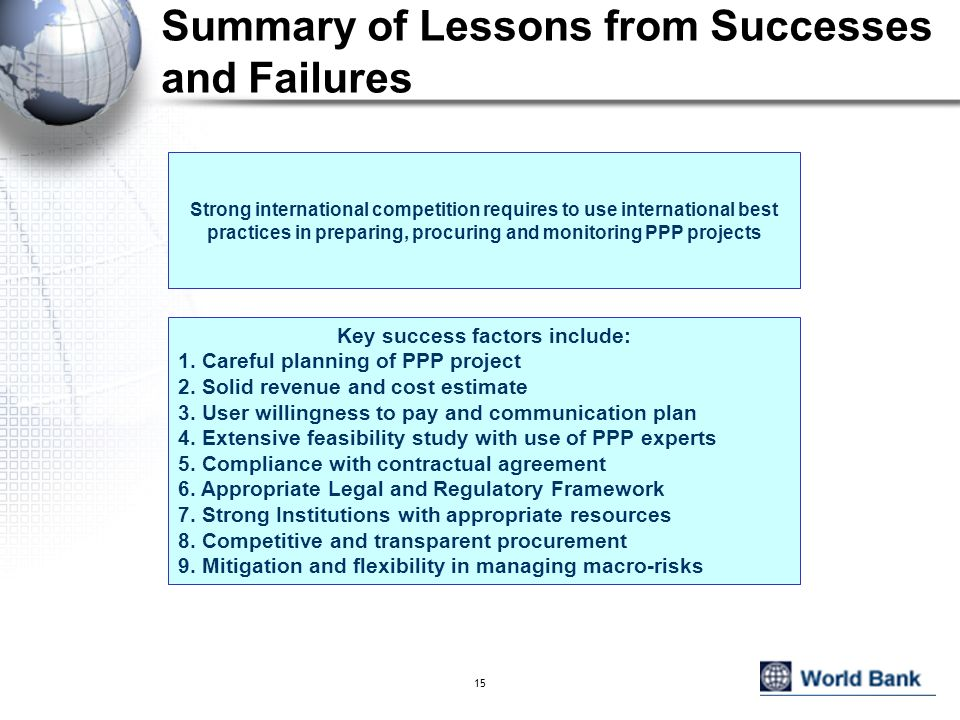 Summary of Lessons from Successes and Failures