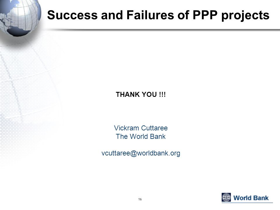 Success and Failures of PPP projects