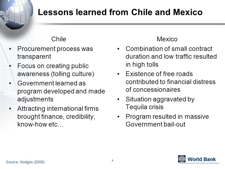 Lessons learned from Chile and Mexico