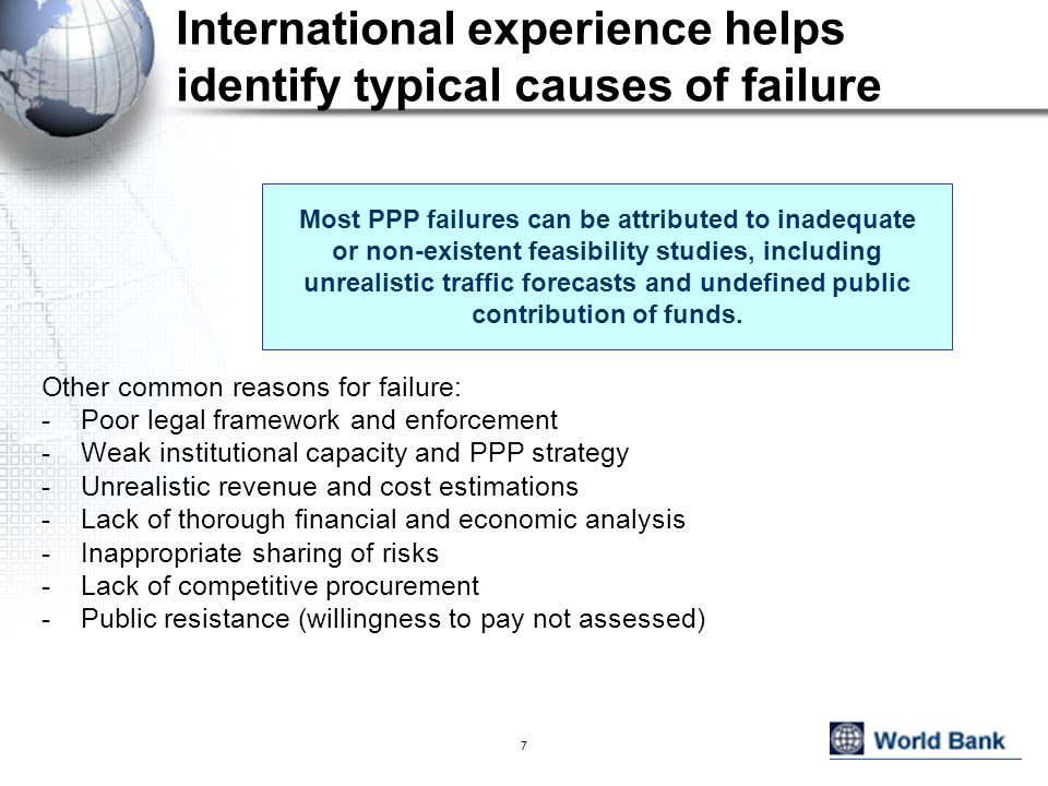 International experience helps identify typical causes of failure