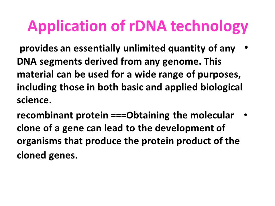 applications of recombinant dna technology pdf
