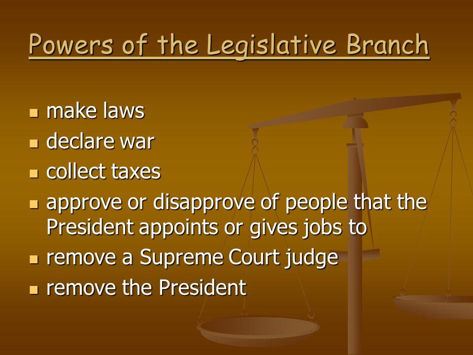 Powers of the Legislative Branch