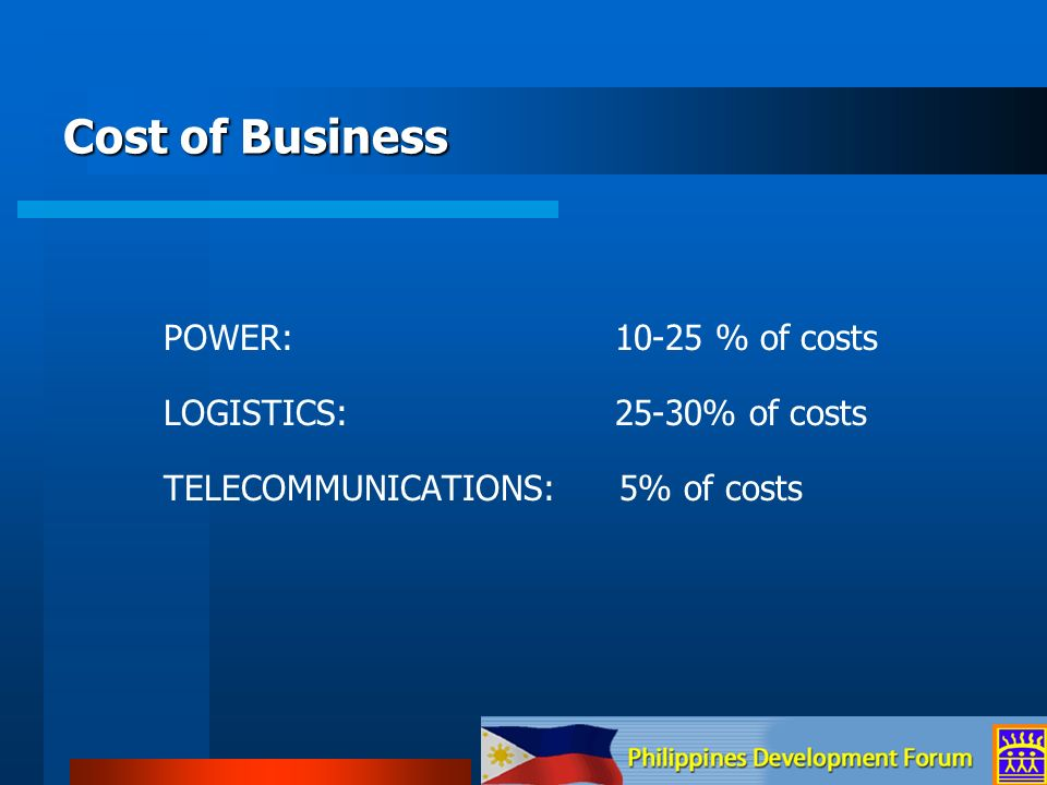 Cost of Business POWER: 10-25 % of costs LOGISTICS: 25-30% of costs