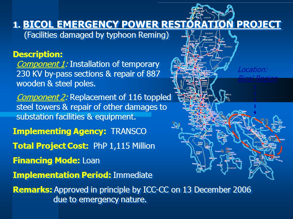 1. BICOL EMERGENCY POWER RESTORATION PROJECT