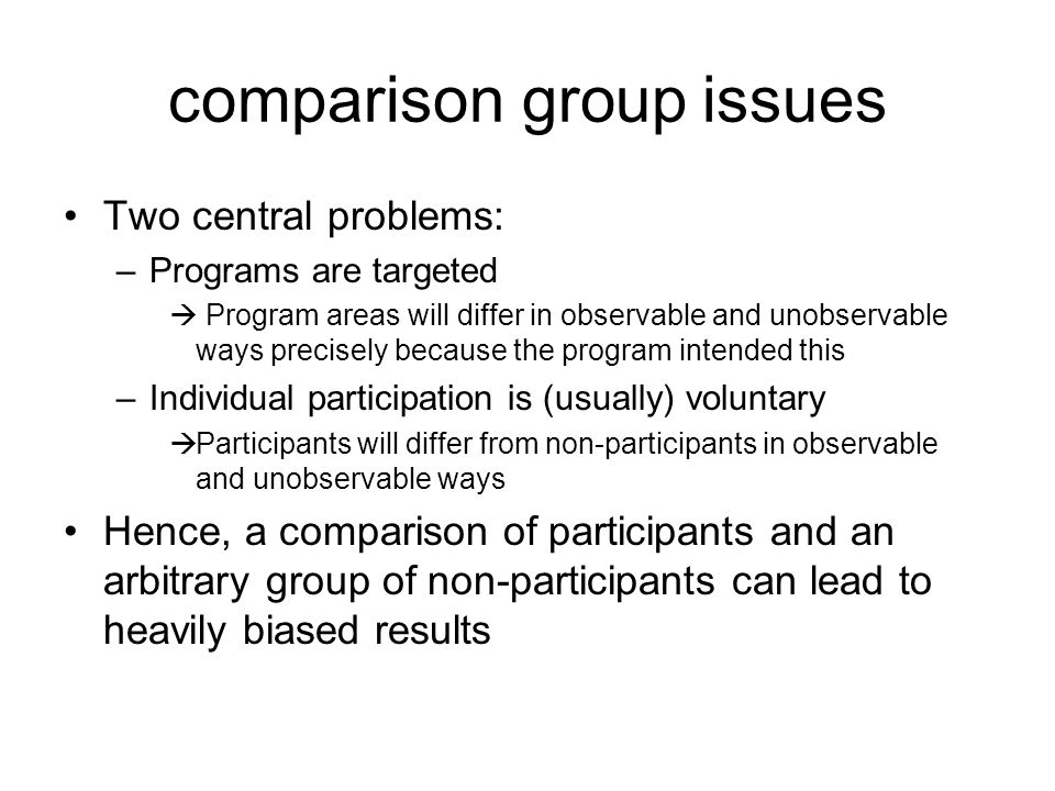 comparison group issues