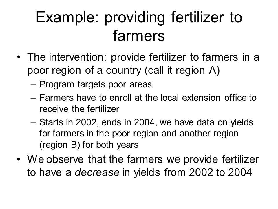 Example: providing fertilizer to farmers