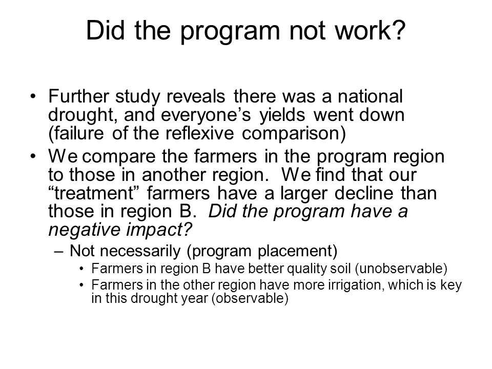 Did the program not work