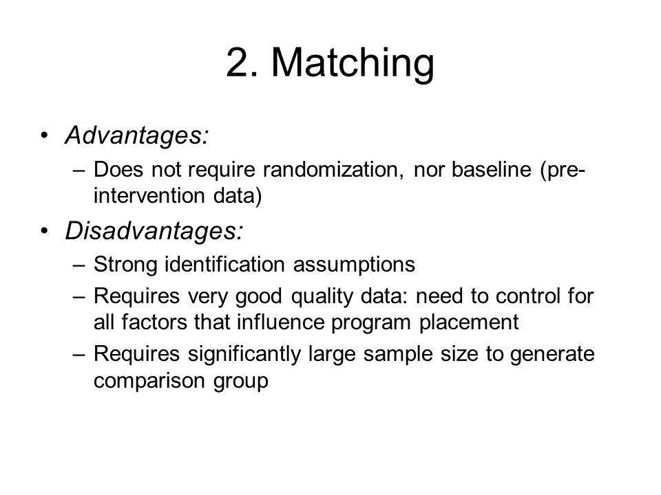 2. Matching Advantages: Disadvantages: