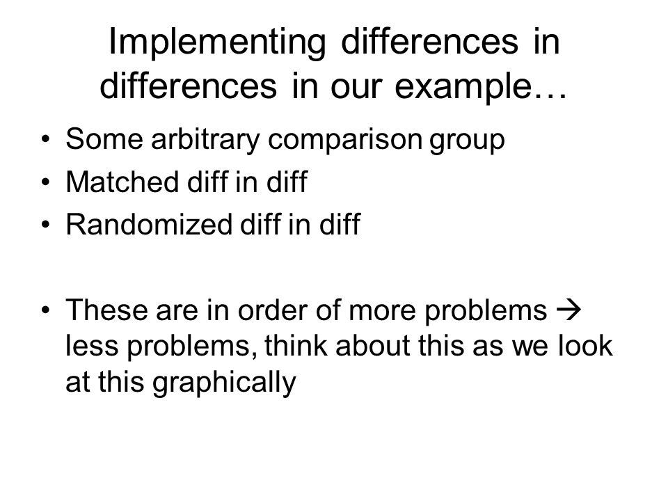 Implementing differences in differences in our example…