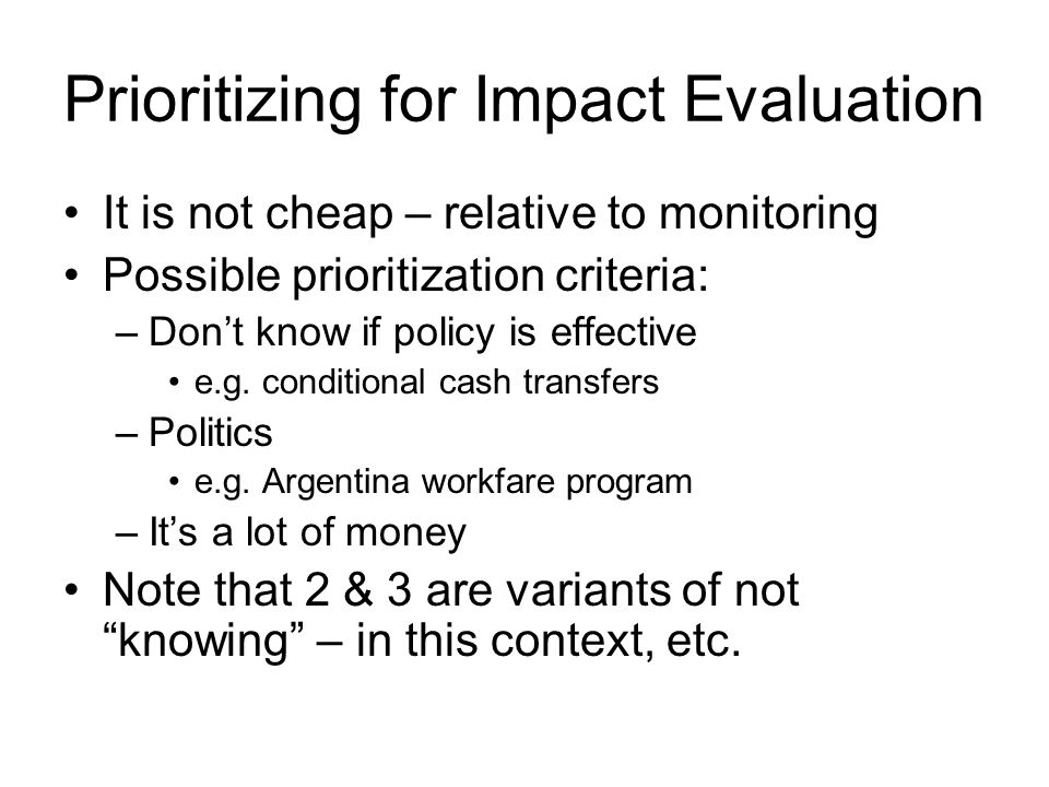 Prioritizing for Impact Evaluation