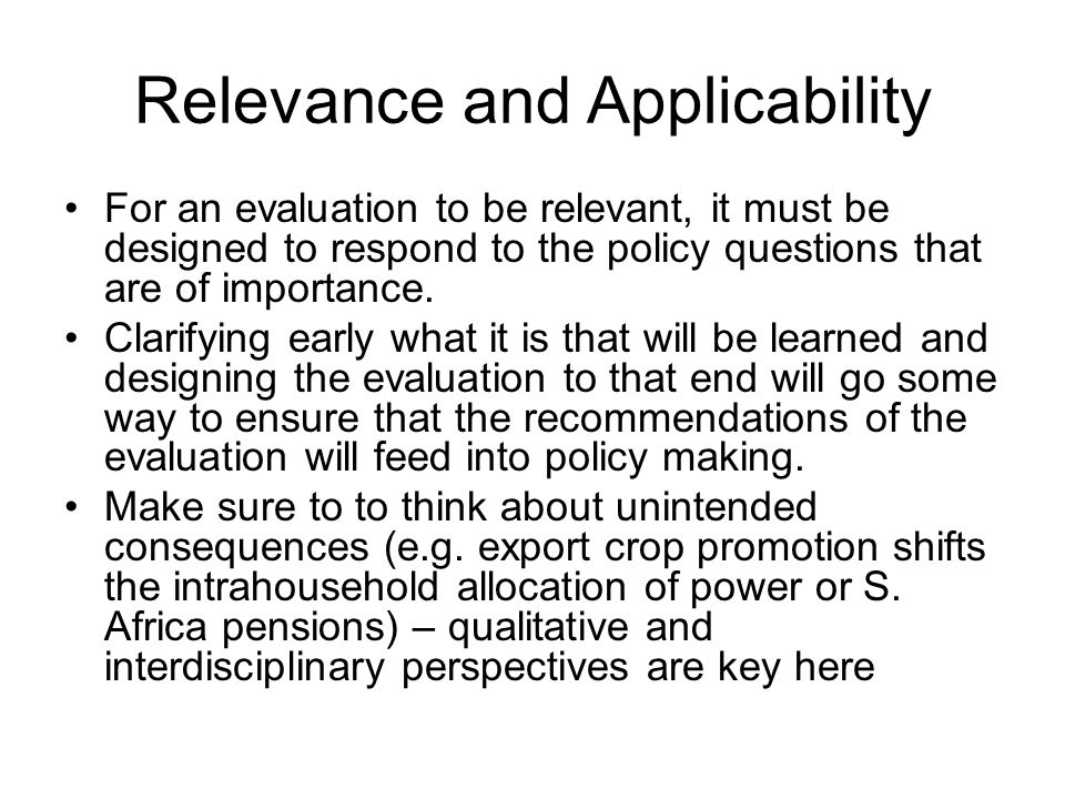 Relevance and Applicability