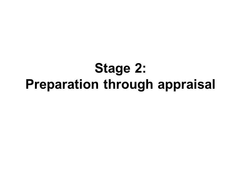 Stage 2: Preparation through appraisal