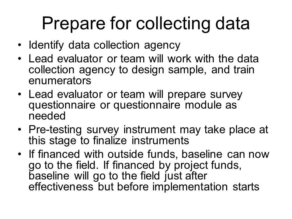 Prepare for collecting data