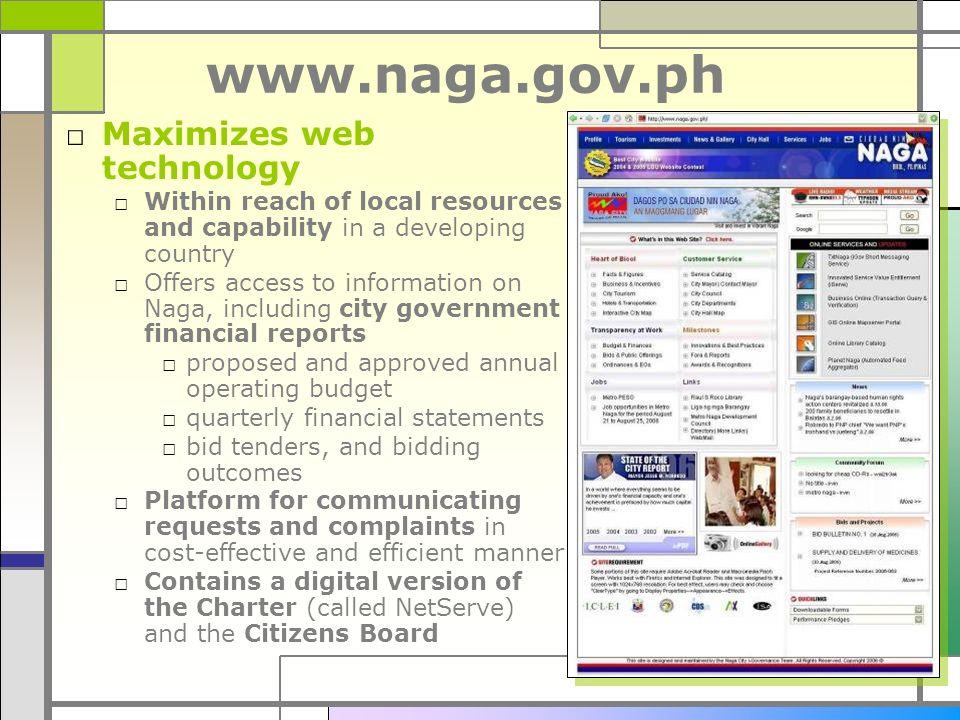 www.naga.gov.ph Maximizes web technology