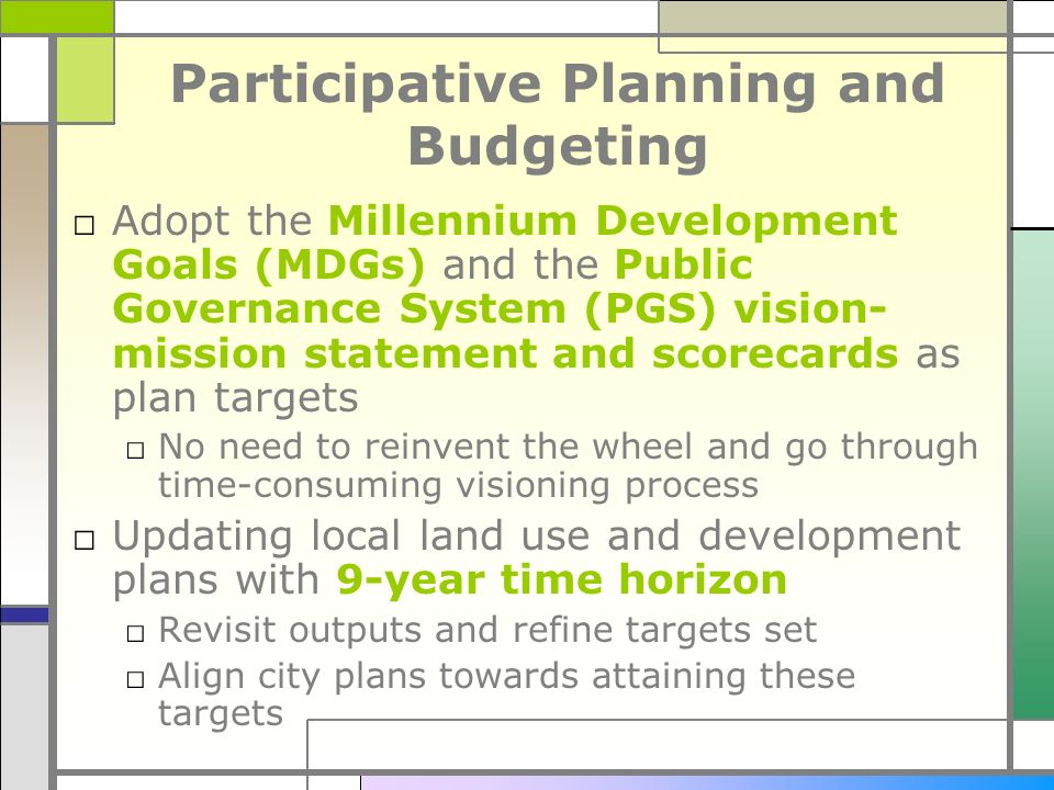 Participative Planning and Budgeting