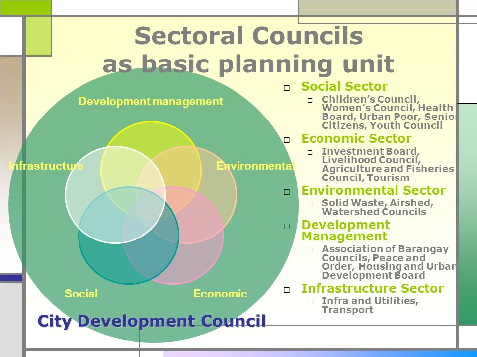 Sectoral Councils as basic planning unit