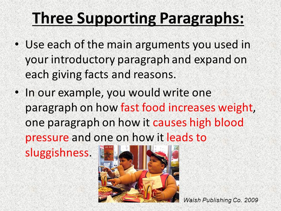 writing supporting paragraphs essay And evidence these paragraphs use a basic pattern (recipe) you can follow the sentences in your body paragraphs may include citations from information sources, examples and anecdotal evidence each support sentence must contribute to the argument you are developing in the paragraph and the rest of the essay you will need.