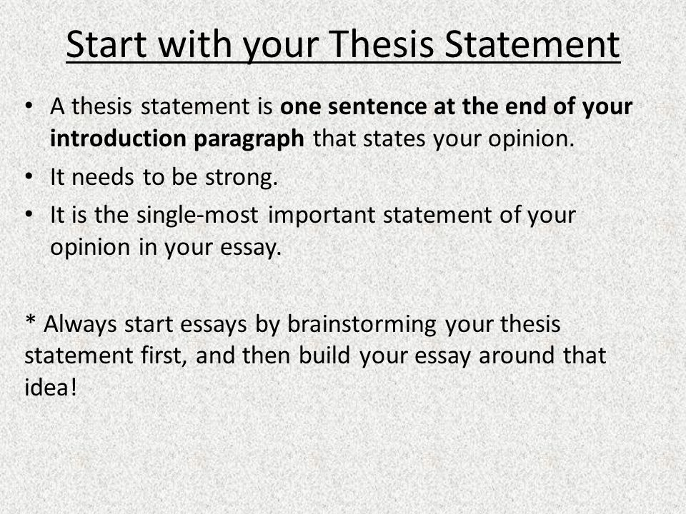 building a strong thesis statement After reading your thesis statement, the reader should think, this essay is going  to try to  a good, standard place for your thesis statement is at the end of an.