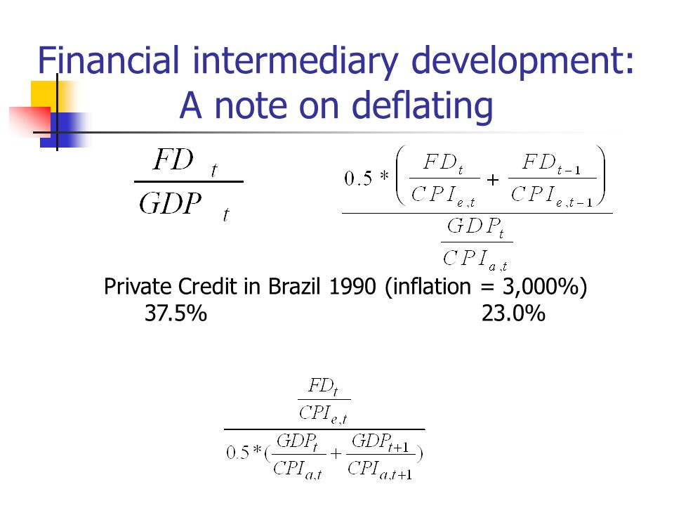 Financial intermediary development: A note on deflating