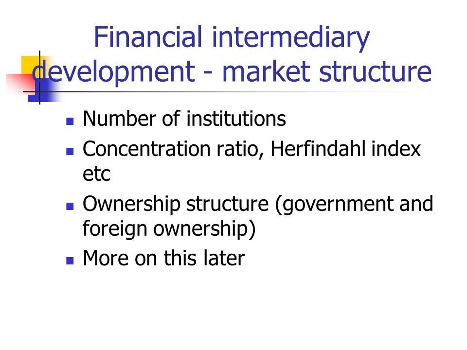 Financial intermediary development - market structure