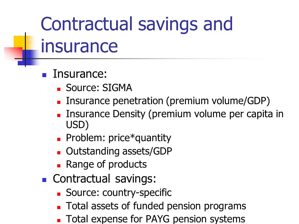 Contractual savings and insurance