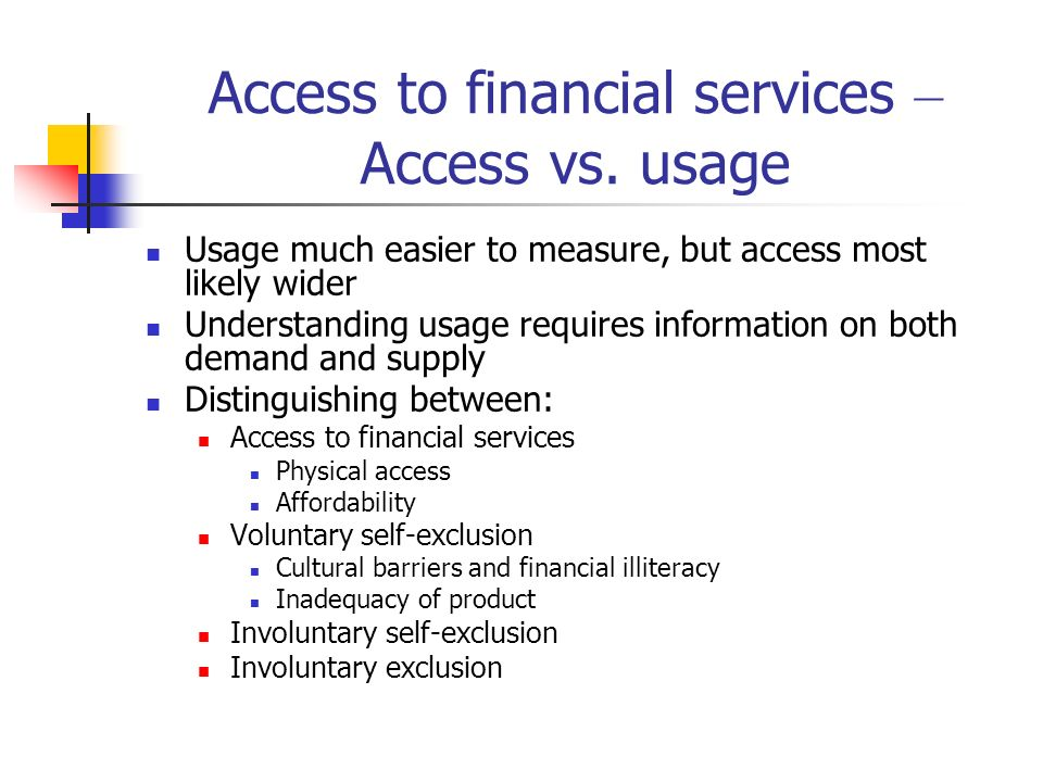 Access to financial services – Access vs. usage