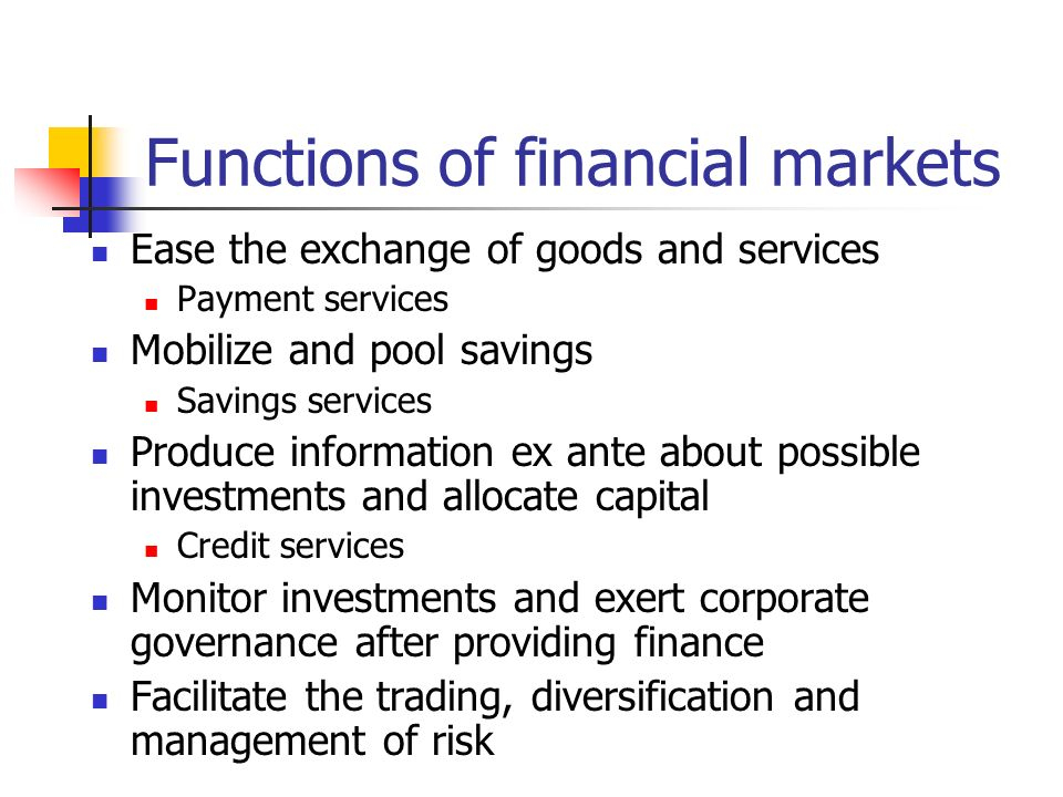 Functions of financial markets