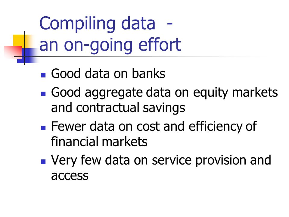 Compiling data - an on-going effort