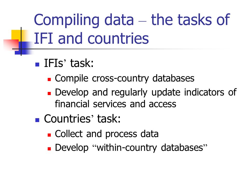 Compiling data – the tasks of IFI and countries