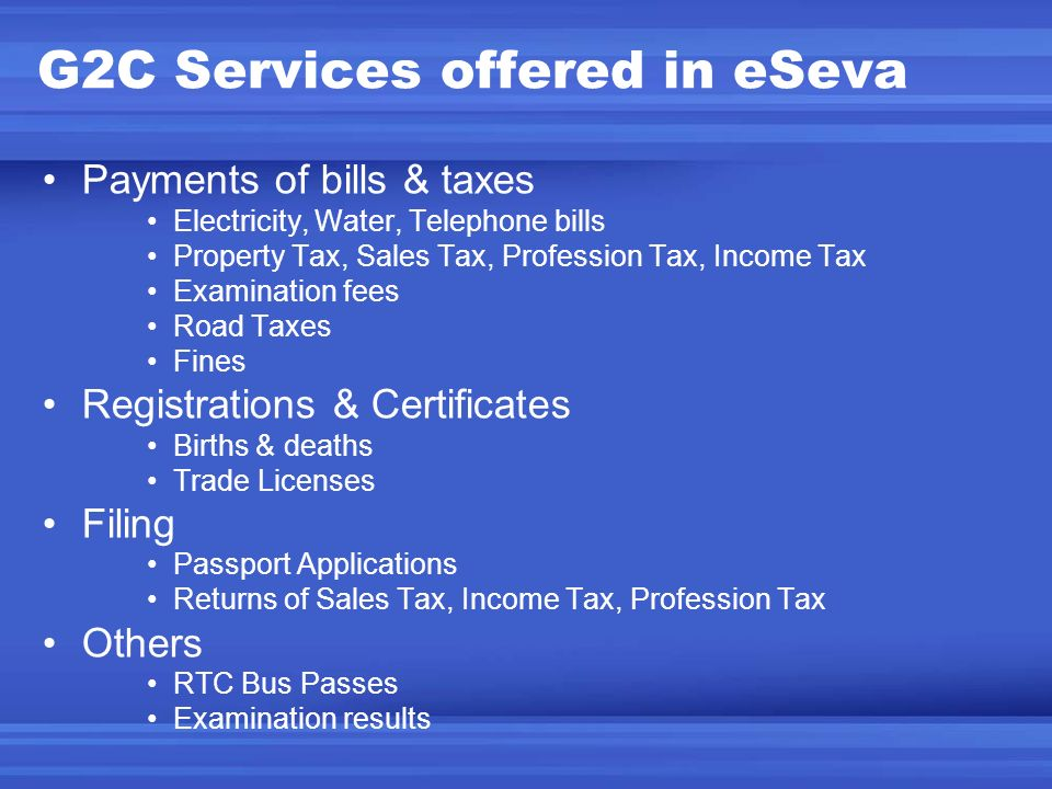 G2C Services offered in eSeva