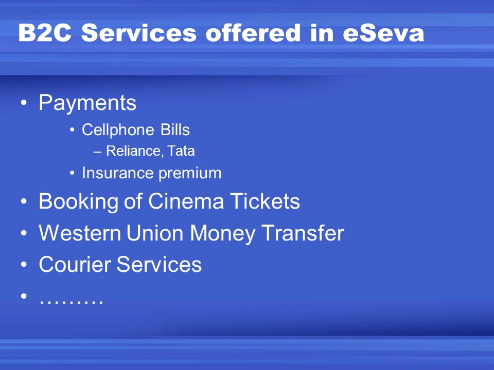 B2C Services offered in eSeva