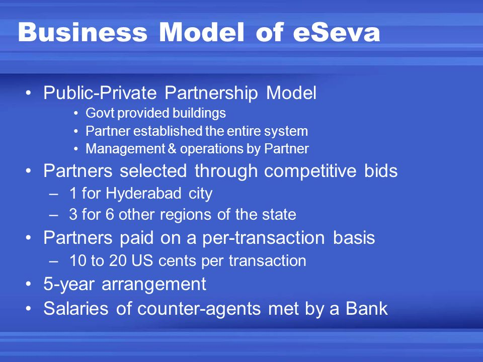 Business Model of eSeva