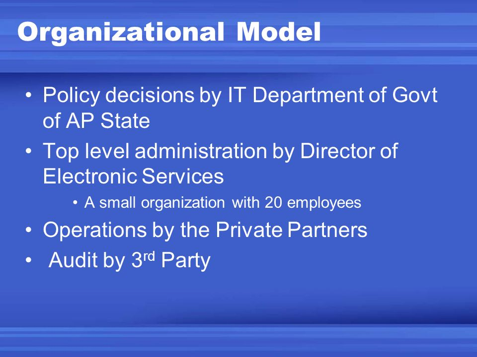 Organizational Model Policy decisions by IT Department of Govt of AP State. Top level administration by Director of Electronic Services.