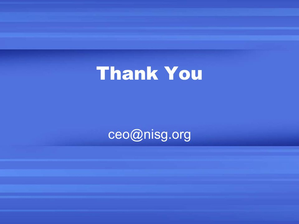 Thank You ceo@nisg.org