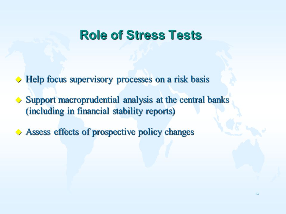 Role of Stress Tests Help focus supervisory processes on a risk basis