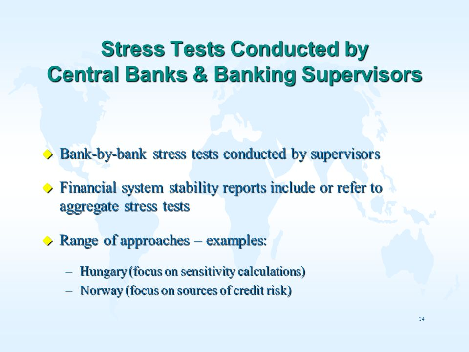 Stress Tests Conducted by Central Banks & Banking Supervisors