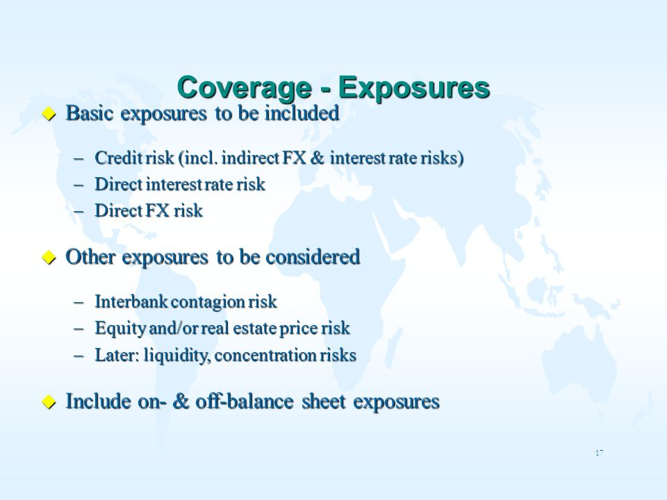 Coverage - Exposures Basic exposures to be included
