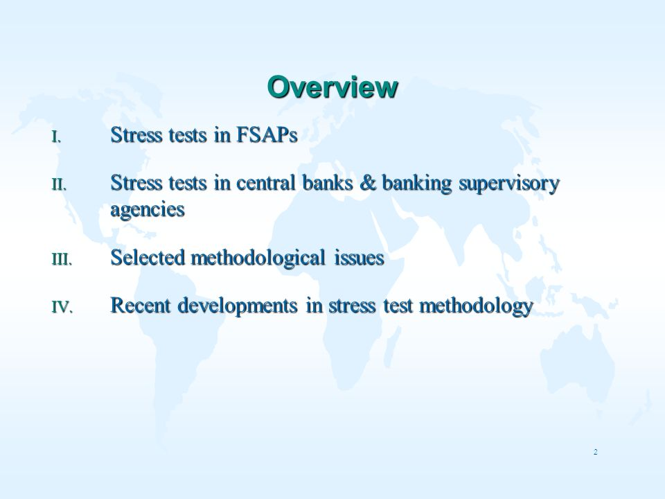 Overview Stress tests in FSAPs