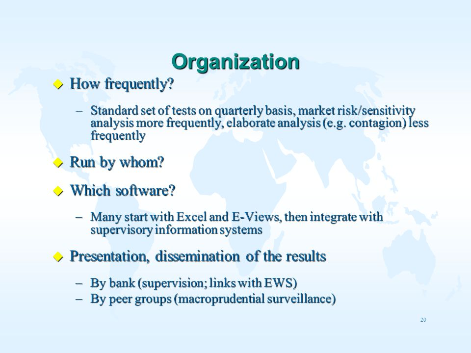 Organization How frequently Run by whom Which software