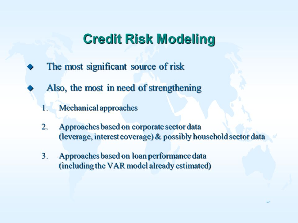 Credit Risk Modeling The most significant source of risk