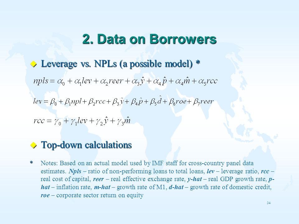 2. Data on Borrowers Leverage vs. NPLs (a possible model) *