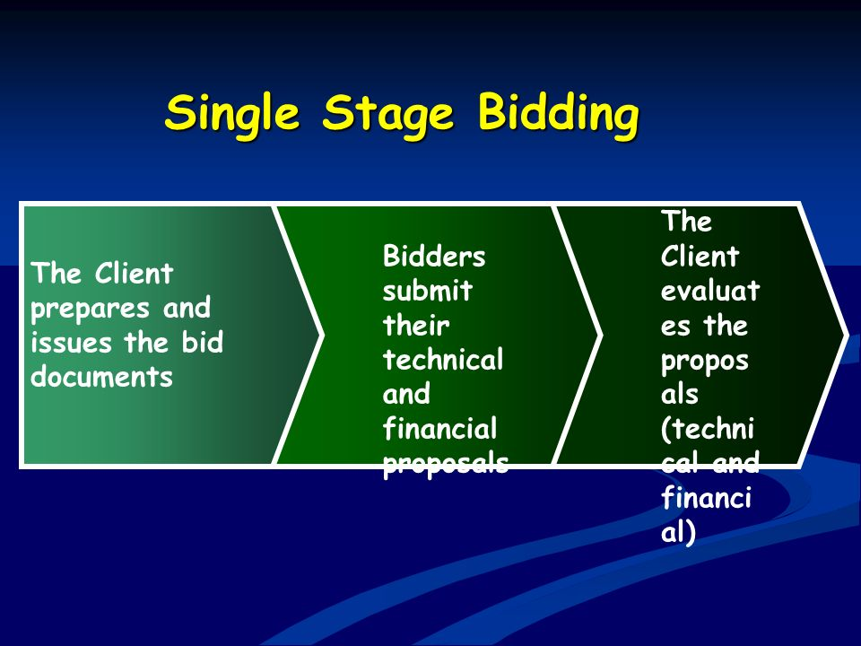 Single Stage Bidding The Client prepares and issues the bid documents. Bidders submit their technical and financial proposals.